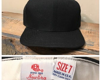 927bd058485 New old stock    Vintage New Era fitted hat cap    deadstock NOS    wool baseball  fitted hat    black cap    size 7 fitted cap    rare