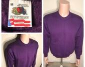 Vintage Fruit of the loom sweatshirt blank deadstock NOS adult size medium purple 50 50 soft crewneck