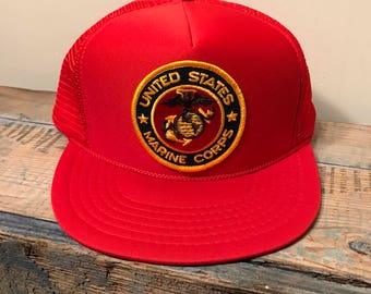 bc7f1807fb9 Vintage United States marine corps patch snapback hat    red mesh trucker  cap    1980s new old stock    USMC cap
