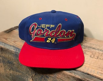 d27c34c9973 Vintage Jeff Gordon snapback hat     24 nascar racing    deadstock new old  stock    two tone spell out script    red blue dupont racing team