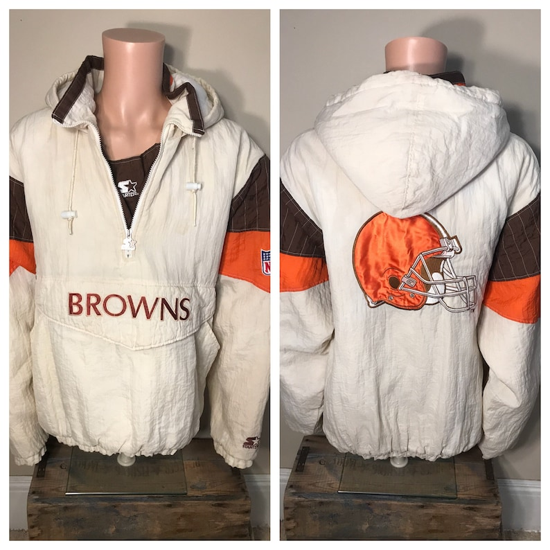 ff14affd Vintage Cleveland Browns jacket // starter pro line pullover // rare white  colorway // adult size xxl 2xl // winter puffy jacket / throwback