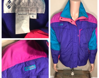 Columbia radial sleeve // Vintage columbia windbreaker // Rare neon color // womens size XL // color block pink green purple // ski jacket