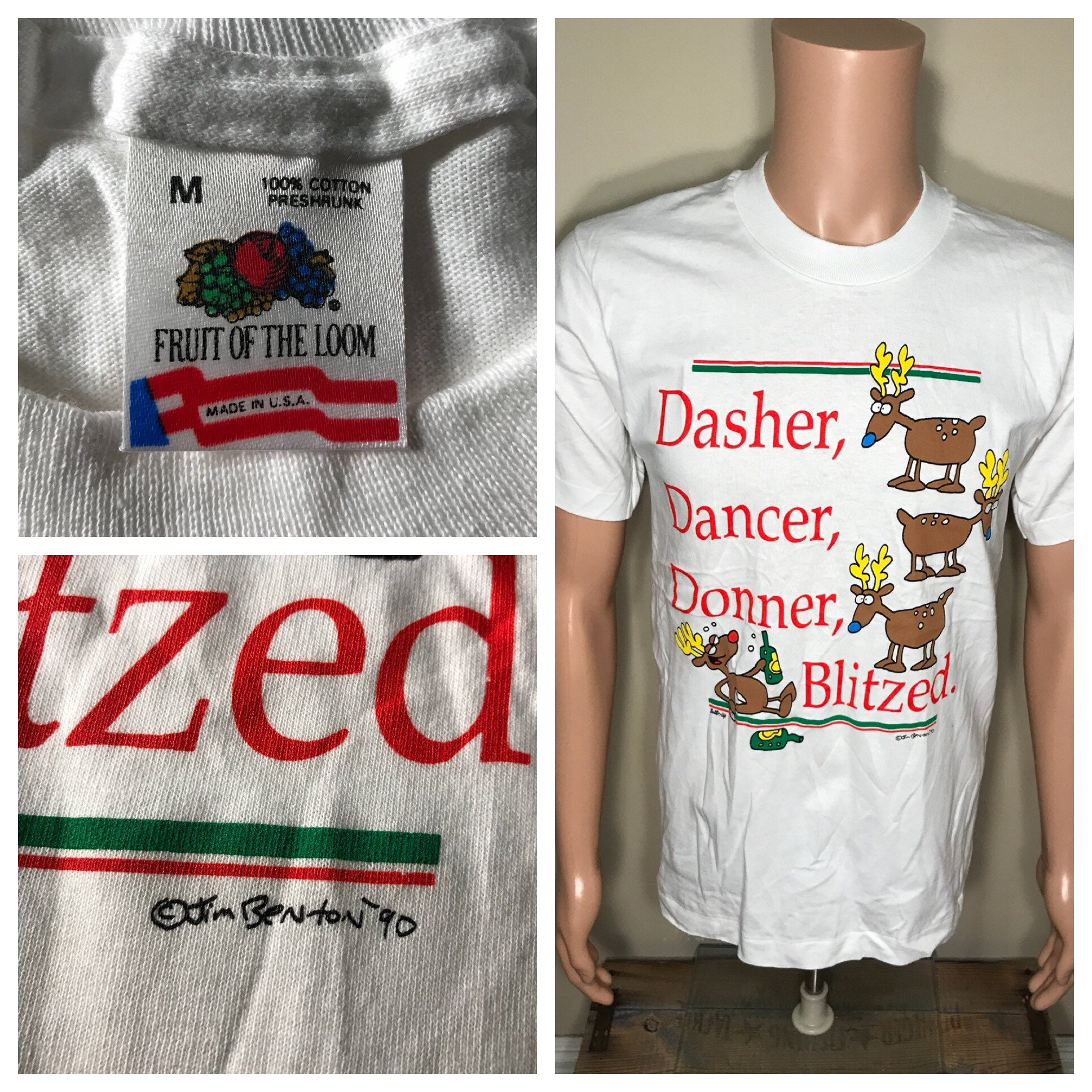 756c43052a5 Vintage 1990 Funny christmas t-shirt // Dasher dancer | Etsy