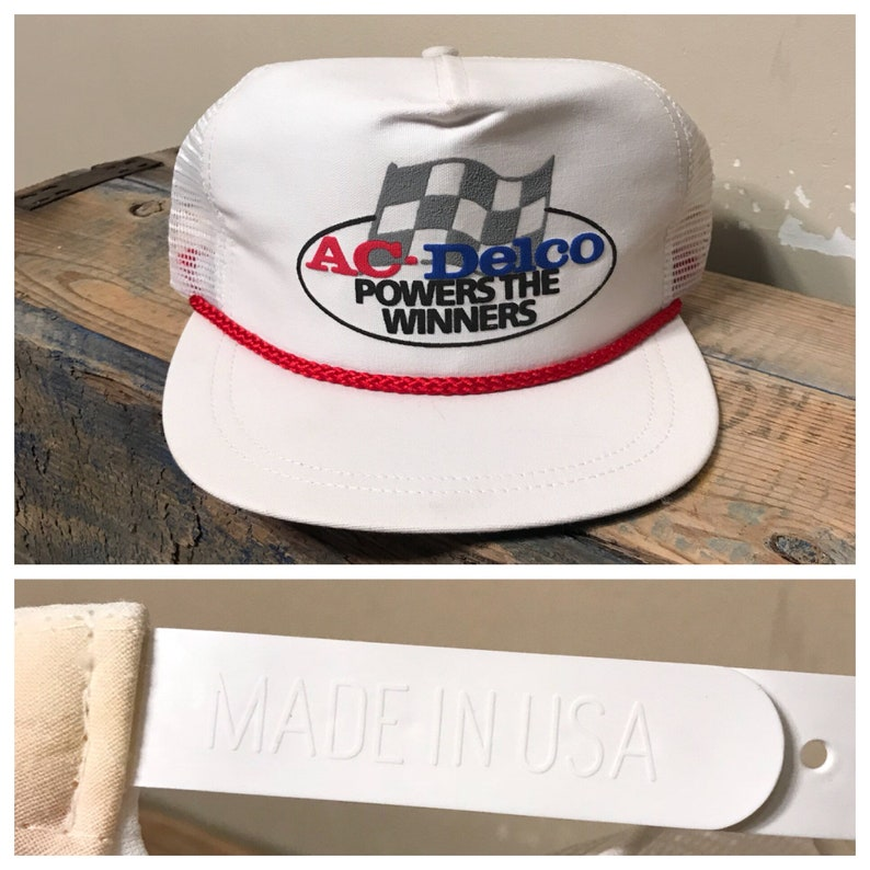 Vintage AC DELCO power of winners hat    white trucker hat     ed00bc6a0fb4