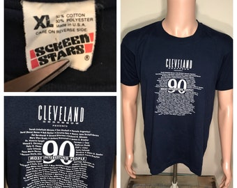 Vintage Cleveland Ohio tshirt // screen stars made in usa // 50/50 blend // adult size large xl // cleveland magazine 80s 90s rare retro shi