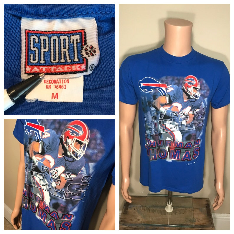 9c6d8aed4 Vintage Buffalo Bills T-shirt    Thurman Thomas big logo spell