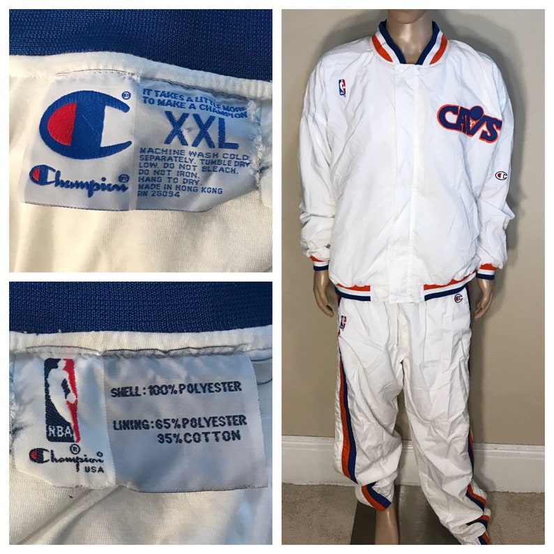 08c244b531c Rare // Cleveland Cavaliers Champion track jacket // snap up pants matching  set // adult size xxl 2xl // team issued // 80s 90s Cavs
