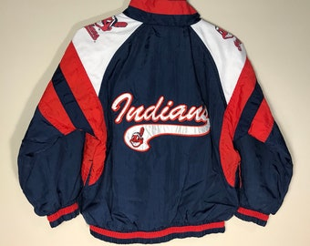 Vintage Cleveland Indians kids jacket // youth small medium // 90s Made by Mighty mac // VTG 90s Tribe // rare retro kids youth size