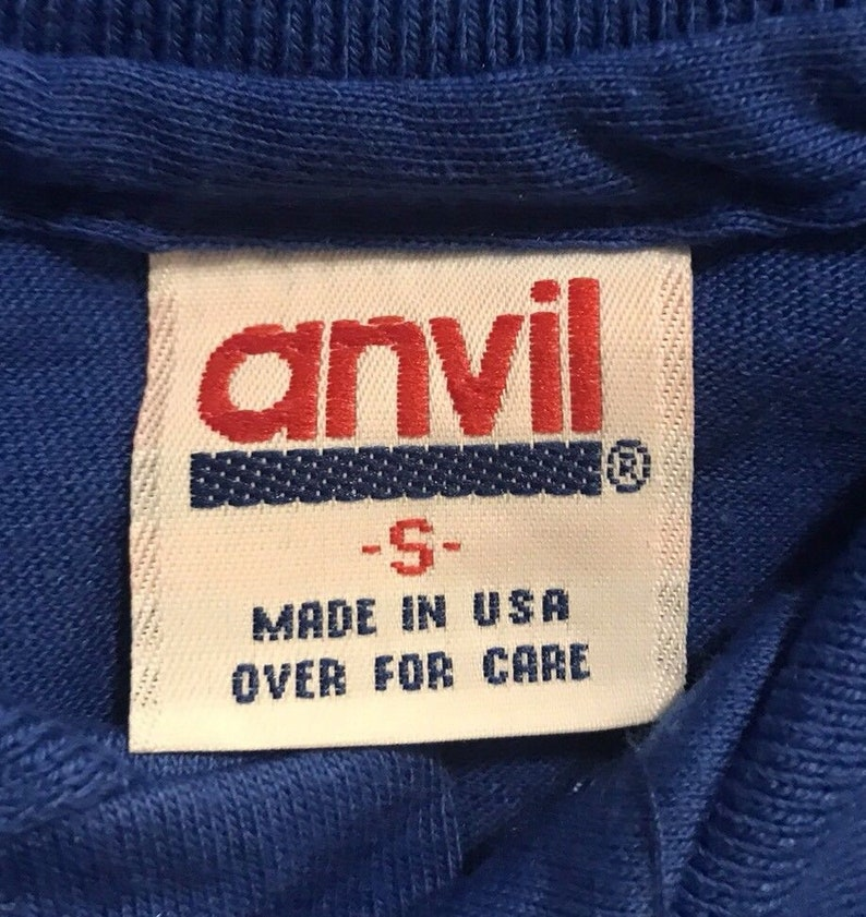 Vintage Anvil Brand Polo BLANK tshirt  NOS  deadstock plain blank tee  blue  adult size small  made in USA 5050 blend