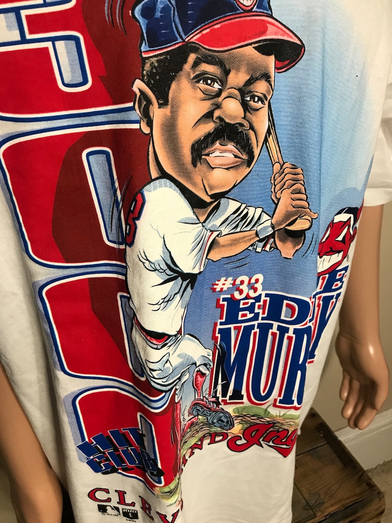 vintage Cleveland Indians Eddie Murray t-shirt  Vintage Cleveland Indians rare shirt  deadstock NWT nos  adult size XXL 2XL