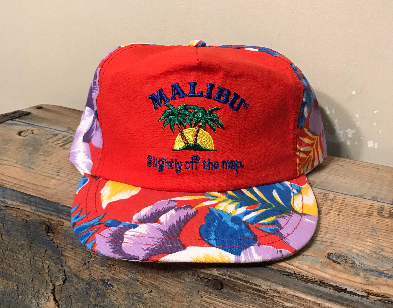 Vintage Malibu hat snapback    hawaiian all over print floral  d60b6efa83ea