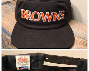 Cleveland Browns Pillbox hat // Vintage Cleveland Browns hat // Snapback hat // 80s 90s // brown embroidered hat // retro throwback