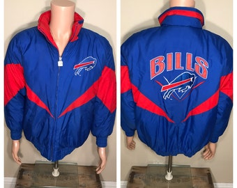 Vintage Buffalo Bills jacket // puffy winter coat // adult size medium // NFL football 90s retro throwback // big logo spell out //
