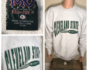 Cleveland State University sweatshirt // vintage crewneck // 90s reverse weave // Vikings // CSU // adult size large // heather gray