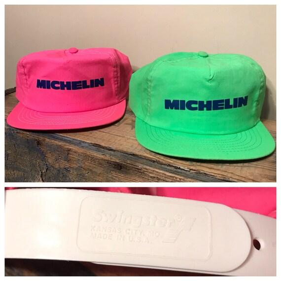 Swingster    vintage michelin hats    lot of 2    neon green  7e2e6653afdd