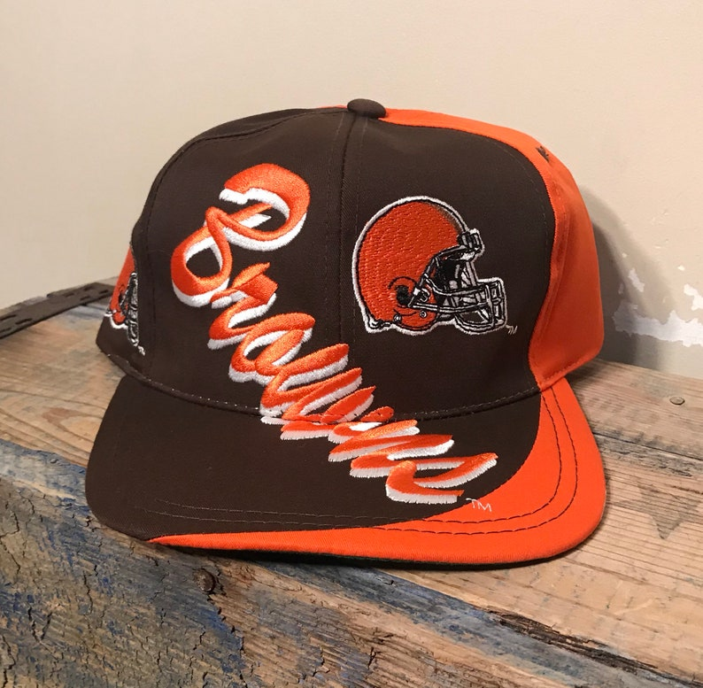 c245c9be6 Vintage Cleveland Browns hat // rare spell out big logo // side logo //  adult size snapback // deadstock new olds tock NOS // two tone retro