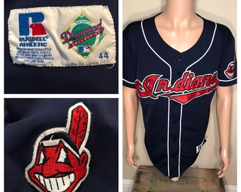 Rare // Vintage Cleveland indians jersey // spell out chief wahoo // authentic russell diamond size 44 // sewn letters // mlb baseball