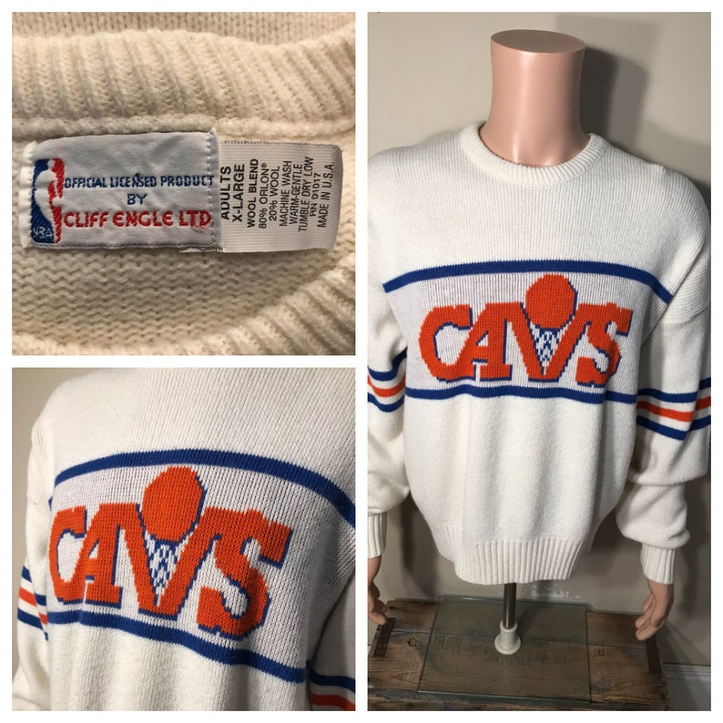 finest selection 3c827 1a72b Vintage Cleveland Cavaliers sweater // cliff engle authentic LTD // wool  NBA basketball // adult size XL // Cavs throwback retro white