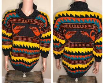 Vintage Colorful hand knit sweater // party costume / aztec tribal navajo // bright colors // thick pullover shawl // vintage rad cool