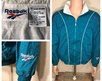 Retro // Reebok windbreaker // Vintage reebok track jacket // adult size large medium // Green White stripes // retro party costume 90s rad