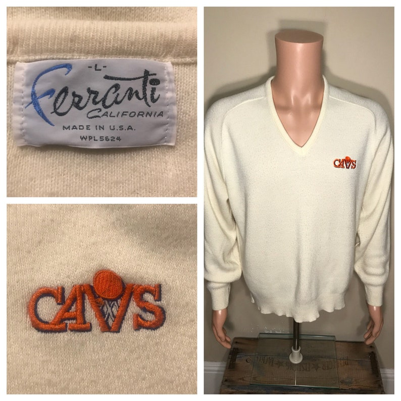 brand new a5b57 c05b3 Cleveland Cavaliers sweater // Vintage Cavs embroidered sweater // V Neck  pullover // adult size large // NBA basketball