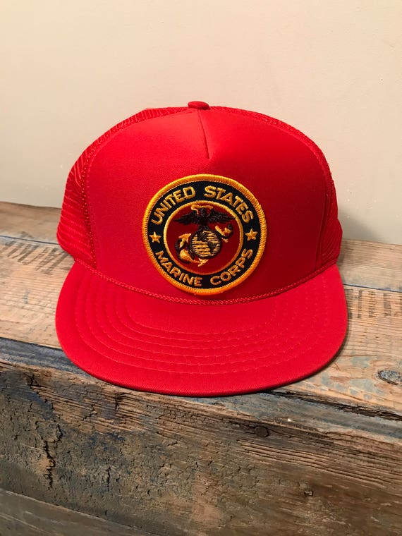 f24ff2d8565 Vintage United States marine corps patch snapback hat    red