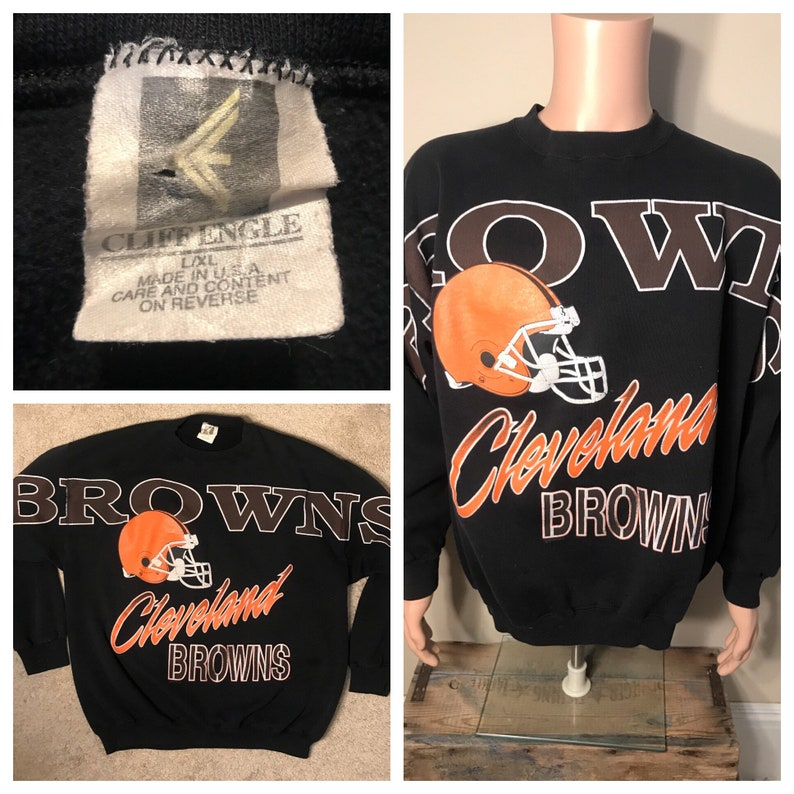 f642b657d Vintage Cleveland Browns sweatshirt // Cleveland Browns Cliff Engle rare  sweater // big spell out // NFL football // size large XL