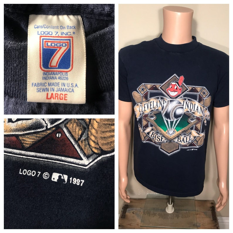 cd5938ea Vintage Cleveland Indians t-shirt // logo 7 tshirt // adult | Etsy