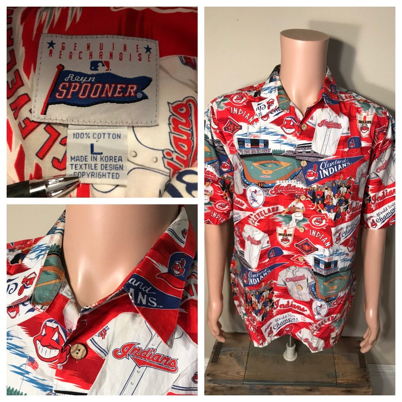 Vintage Cleveland Indians hawaiian shirt // all over print // image 0