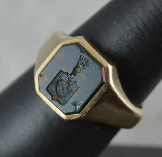 Impressive 9 Carat Gold and Bloodstone Intaglio Se
