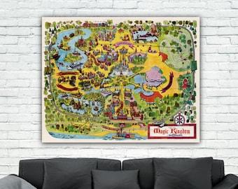 Magic kingdom map | Etsy