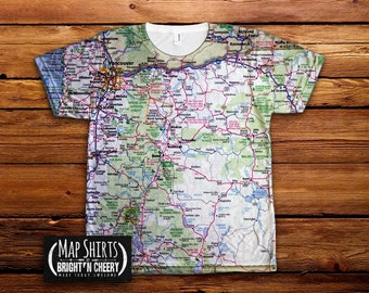 1957 vintage new orleans map tshirt all over print shirt for T shirt printing in portland oregon