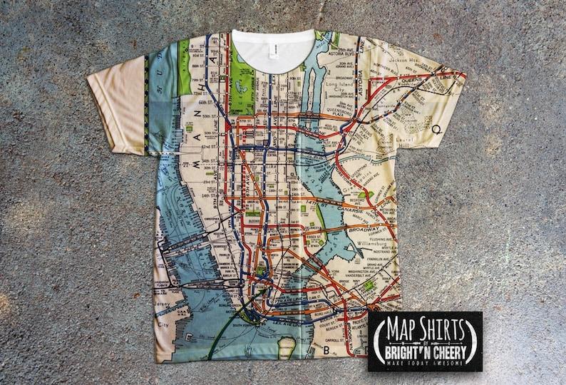 Nyc Subway Map Shirt.Vintage 1939 Nyc Subway Map Shirt All Over Print Tee Mta Tshirt Metro Tee Manhattan Shirt Green Line Tee New York City I Love New York