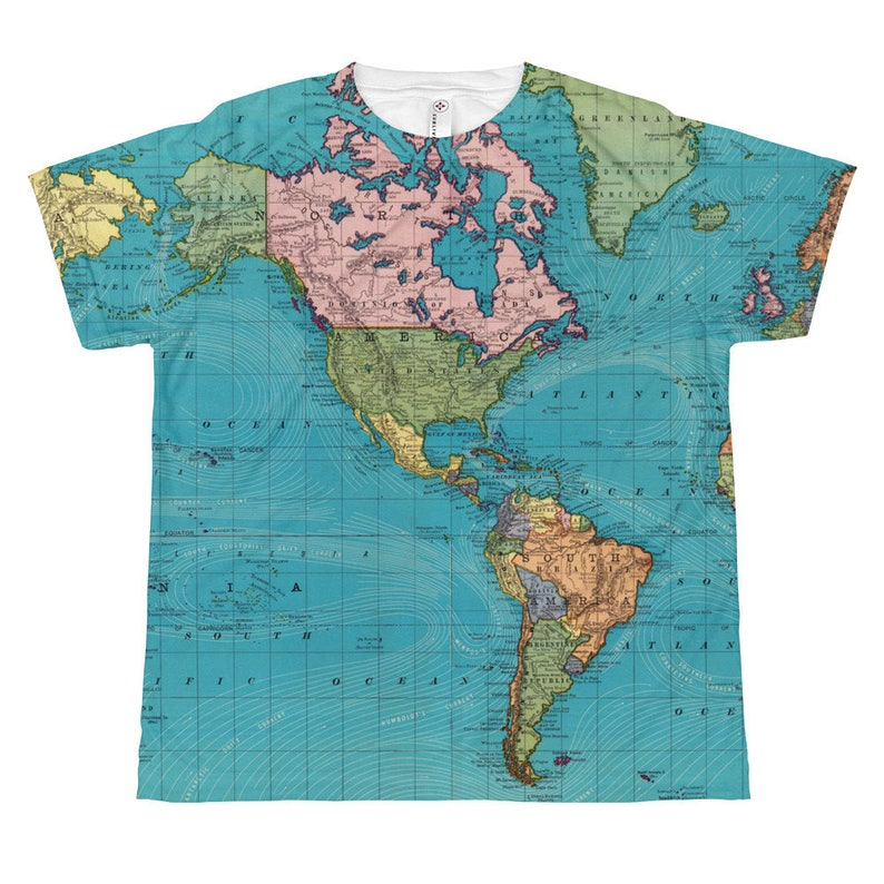 World Map With Currents.Kids World Map Shirt Ocean Currents Map Vintage World Map Etsy