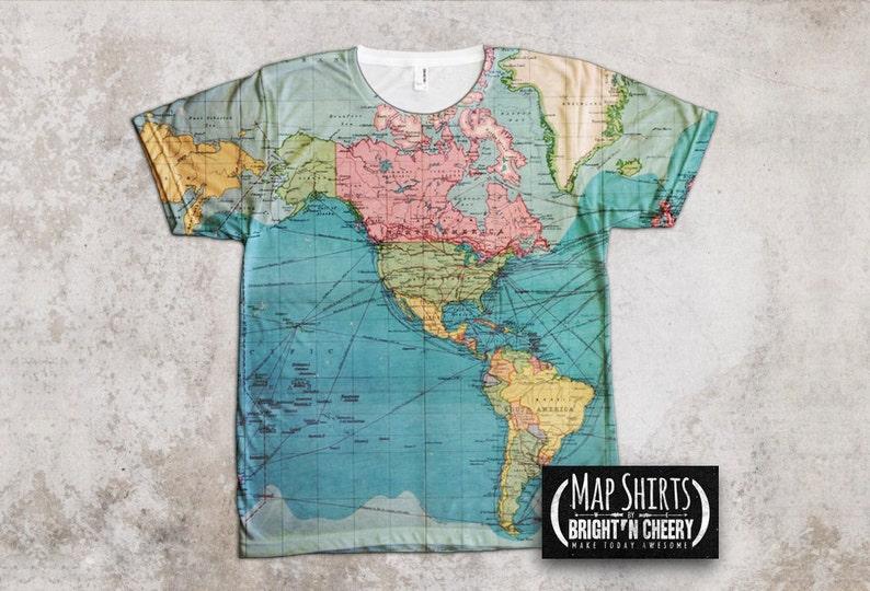 3b9fe4117 Vintage World Map T Shirt Travel Gift All Over Print Shirt   Etsy