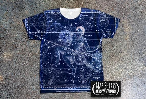 Aquarius Constellation T Shirt, Celestial Shirt, Astrology Tee Zodiac Sign Vintage Star Map Antique Astronomy Chart Horoscope Birthday Gift