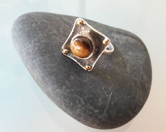 Tiger Eye in Sterling Silver Ring Size 8.5