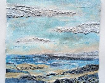 Cornish Seascape 3, Original Acrylic Collage Painting