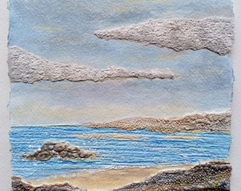 Cornish Seascape 2, Original Acrylic Collage Painting