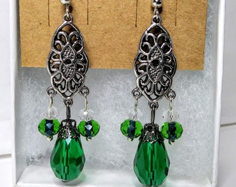Green Filigree Drop Earrings