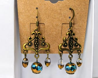 Bronze Czech Glass Earrings