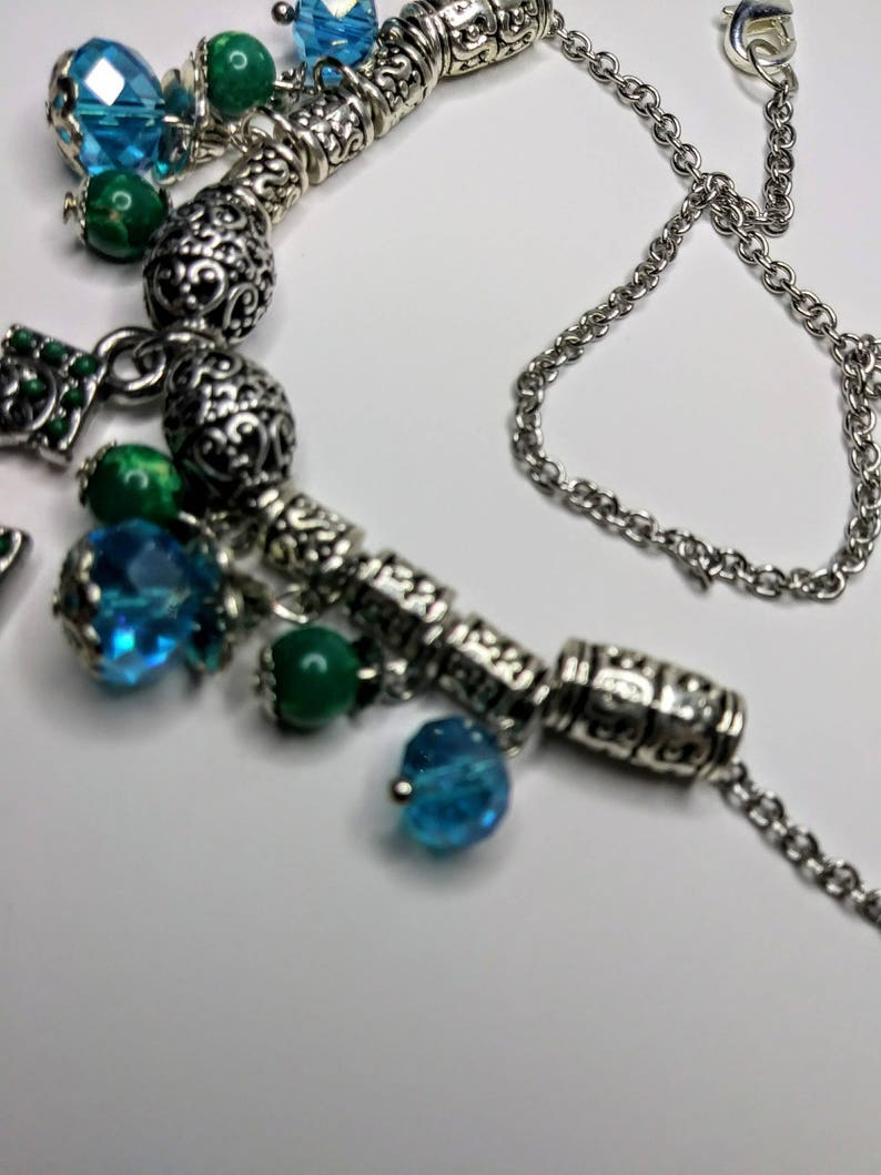 Blue and Green Cross Necklace