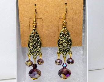 Purple Filigree Chandelier Earrings