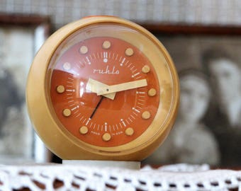 Mom Gift - Alarm Clock - Vintage Orange Clock - Retro Clock Made In East Germany - Mechanical Desk Clock - Table Clock - Rare Clock