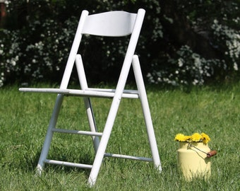 Patio Chair - Wooden Folding Chair - Vintage Garden Chair - White Outdoor Chair - Porch Chair - Patio Furniture - Garden Furniture