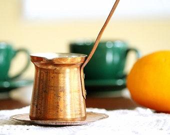 Vintage Coffee Pot - Turkish Coffee Pot - Turkish Cezve - Copper Coffee Jug - Vintage Kitchen