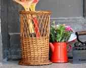 Tall Rattan Basket - Woven Wicker Umbrella Holder - Vintage Umbrella Stand - Plant Holder - Storage Basket - Boho Decor - Housewarming Gift