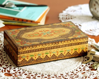 Wooden Box - Hand Carved Wooden Box with Lid - Jewelry Box - Vintage Wood Box - Keepsake Box - Storage Box - Memory Box - Trinket Box