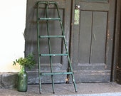 Vintage Ladder - Green Step Ladder - Folding Chippy Ladder - Plant Stand - Garden Decor - Industrial Decor - Rustic Decor - Metal and Wood