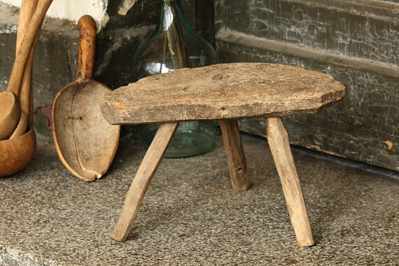 Admirable Tripod Primitive Stool Wooden Milking Stool Antique Footstool Rustic Three Legged Stool Small Farmhouse Furniture Plant Stand Pabps2019 Chair Design Images Pabps2019Com